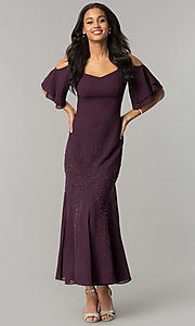 Image of long cold-shoulder mother-of-the-bride/groom dress. Style: MO-1098 Detail Image 2
