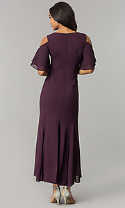 Image of long cold-shoulder mother-of-the-bride/groom dress. Style: MO-1098 Detail Image 3