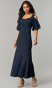 Image of long cold-shoulder mother-of-the-bride/groom dress. Style: MO-1098 Front Image