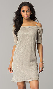 Gold Party Dress with Cold-Shoulder Short Sleeves