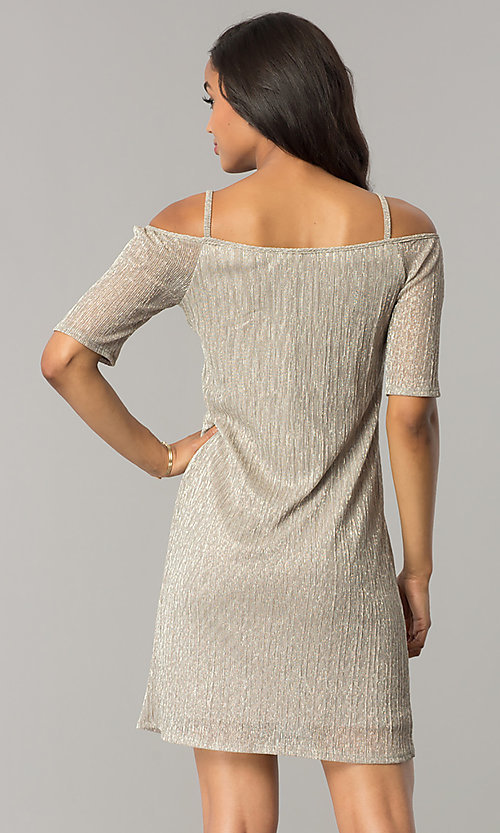 Image of gold party dress with cold-shoulder short sleeves. Style: MO-1554 Back Image