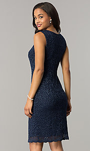 Image of knee-length navy blue mother-of-the-bride dress. Style: MO-1556 Back Image