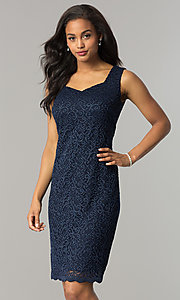 Image of knee-length navy blue mother-of-the-bride dress. Style: MO-1556 Detail Image 1