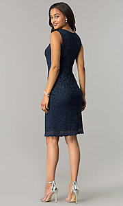 Image of knee-length navy blue mother-of-the-bride dress. Style: MO-1556 Detail Image 3