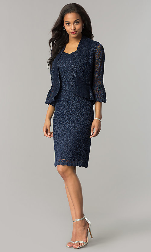 Image of knee-length navy blue mother-of-the-bride dress. Style: MO-1556 Detail Image 2