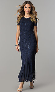 Maxi-Length MOB Sequined Lace Dress