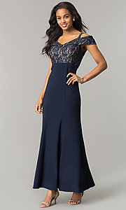Image of cold-shoulder mother-of-the-bride dress with lace. Style: MO-2055 Detail Image 2