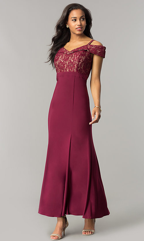 fe070d38f88 Image of cold-shoulder mother-of-the-bride dress with lace.