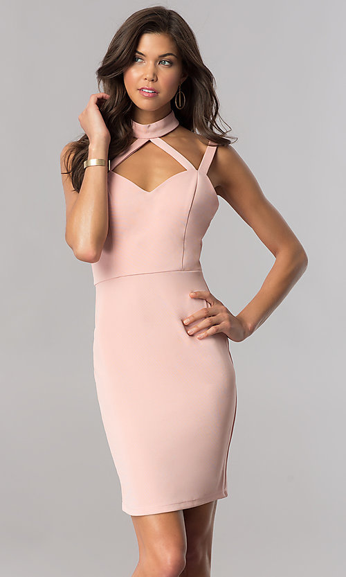 63bdf49a Image of choker-collar short homecoming dress in blush pink. Style: AS-