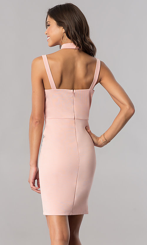 Image of choker-collar short homecoming dress in blush pink. Style: AS-i745615A09 Back Image