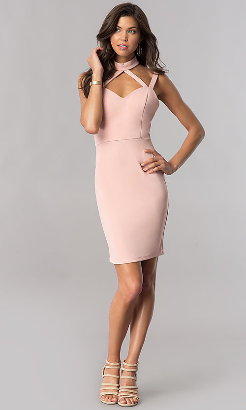 Image of choker-collar short homecoming dress in blush pink. Style: AS-i745615A09 Detail Image 1