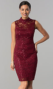 High-Neck Lace Knee-Length Sheath Party Dress