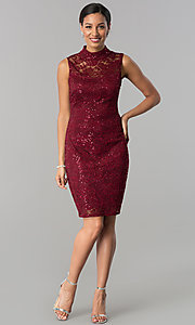 Image of high-neck lace knee-length sheath party dress. Style: JU-MA-263624 Detail Image 1