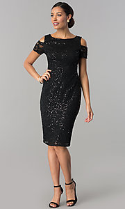 Image of knee-length sequin-lace wedding-guest party dress. Style: JU-MA-263939 Detail Image 3