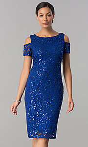 Knee-Length Sequin-Lace Wedding-Guest Party Dress
