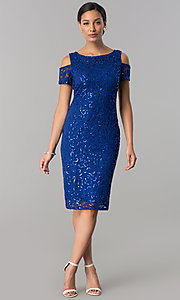 Image of knee-length sequin-lace wedding-guest party dress. Style: JU-MA-263939 Detail Image 1
