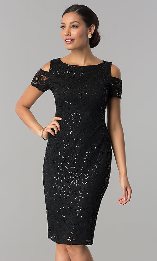 Image of knee-length sequin-lace wedding-guest party dress. Style: JU-MA-263939 Detail Image 2