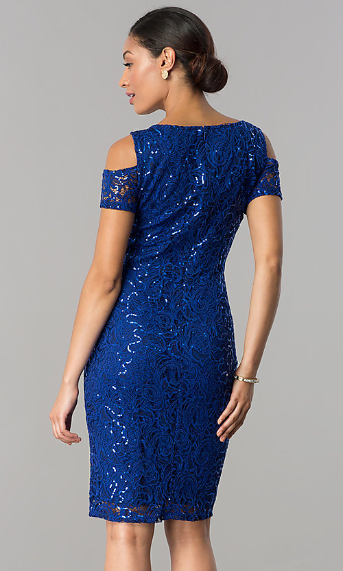 Image of knee-length sequin-lace wedding-guest party dress. Style: JU-MA-263939 Back Image