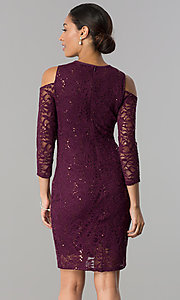 Image of long-sleeve cold-shoulder sequin-lace party dress. Style: JU-MA-263593 Back Image