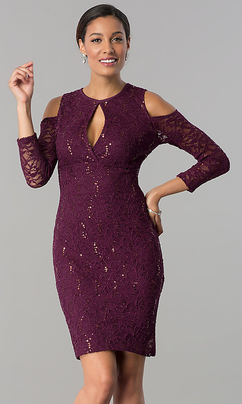Image of long-sleeve cold-shoulder sequin-lace party dress. Style: JU-MA-263593 Front Image