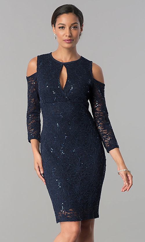 Image of long-sleeve cold-shoulder sequin-lace party dress. Style: JU-MA-263593 Detail Image 2