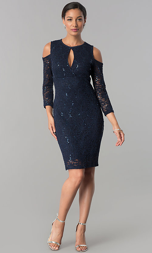Image of long-sleeve cold-shoulder sequin-lace party dress. Style: JU-MA-263593 Detail Image 3