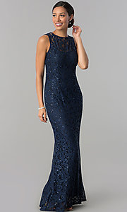 Long Formal Sequin Lace MOB Dress