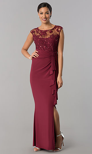 Long MOB Dress with Lace Applique Illusion Bodice