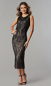 Image of black-sequined tea-length nude party dress. Style: MO-1666 Front Image