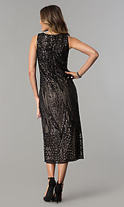 Image of black-sequined tea-length nude party dress. Style: MO-1666 Back Image