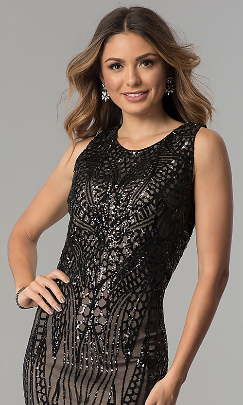 Image of black-sequined tea-length nude party dress. Style: MO-1666 Detail Image 1