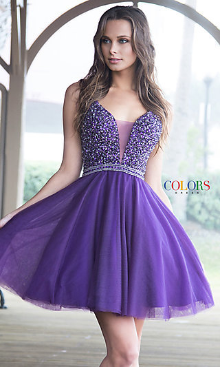 Fit and Flare V-Neck and Back Homecoming Dress
