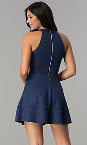 Image of short glitter-jersey navy wedding-guest party dress. Style: EM-FKY-2589-483 Back Image