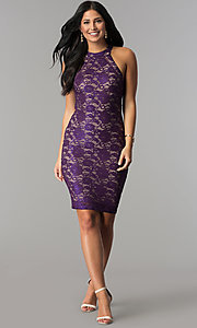 Image of short plum purple lace wedding-guest party dress. Style: EM-FKZ-2935-534 Detail Image 2