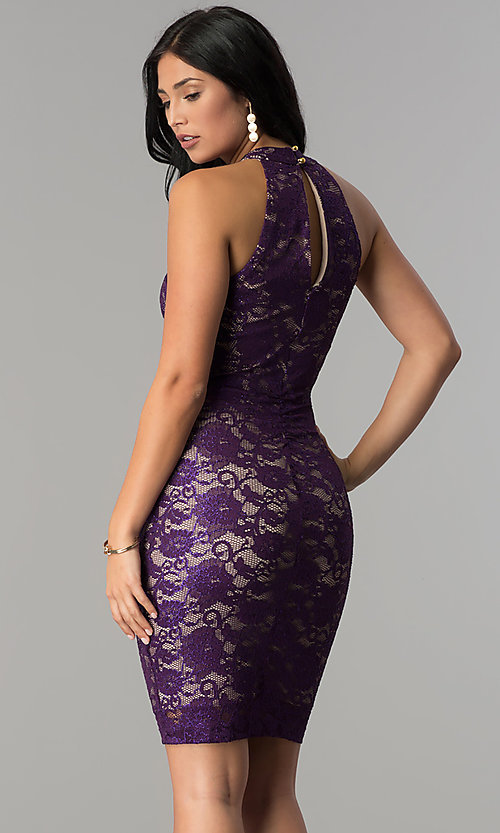 Image of short plum purple lace wedding-guest party dress. Style: EM-FKZ-2935-534 Back Image