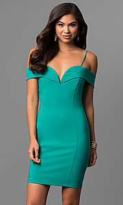 Image of short off-the-shoulder emerald green party dress. Style: MCR-1952e Front Image