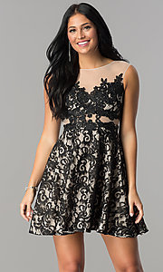 Lace-Applique Short Illusion Homecoming Dress