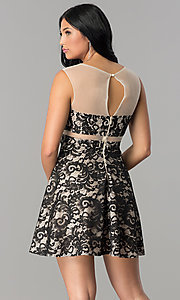 Image of lace-applique short illusion homecoming dress. Style: LP-24132 Back Image