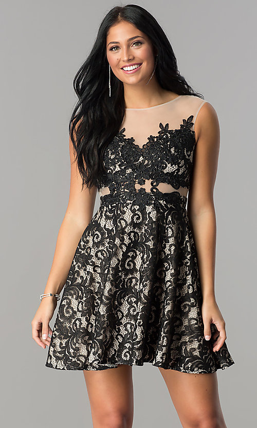 Image of lace-applique short illusion homecoming dress. Style: LP-24132 Front Image
