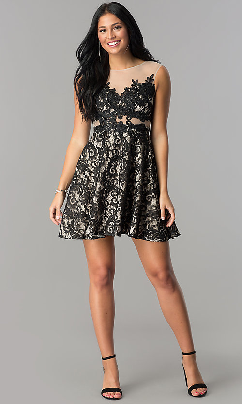 Image of lace-applique short illusion homecoming dress. Style: LP-24132 Detail Image 1