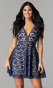 Short Open-Lace Deep V-Neck Homecoming Dress