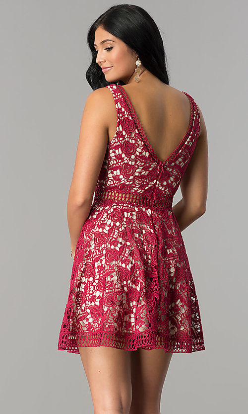 Image of short open-lace deep v-neck homecoming dress. Style: LP-24137 Back Image
