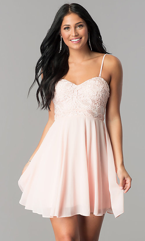 Image of strapless-sweetheart chiffon short homecoming dress. Style: LP-24349 Detail Image 2