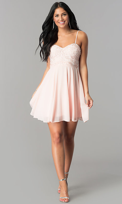 Image of strapless-sweetheart chiffon short homecoming dress. Style: LP-24349 Detail Image 3