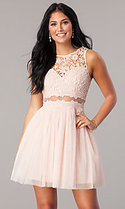 Image of mock-two-piece homecoming dress with lace bodice. Style: LP-23846 Front Image