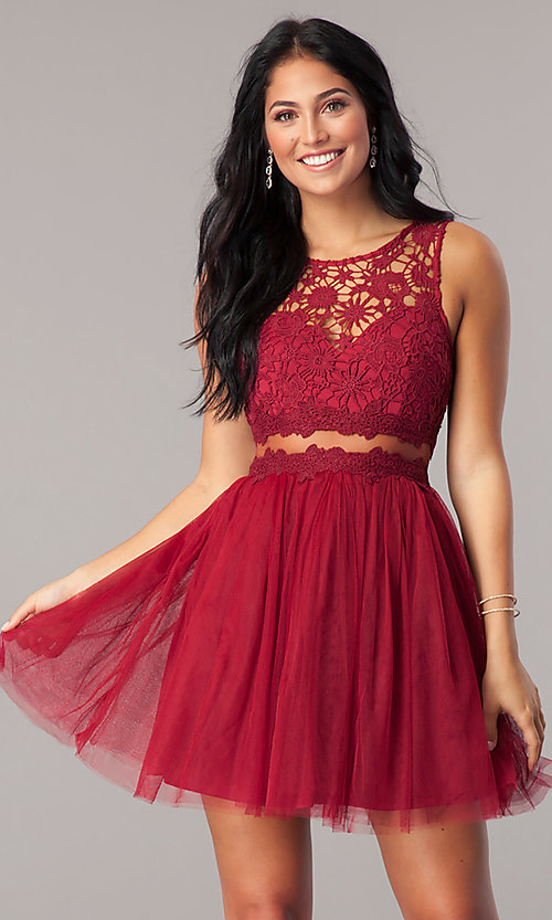 Image of mock-two-piece homecoming dress with lace bodice. Style: LP-23846 Detail Image 3