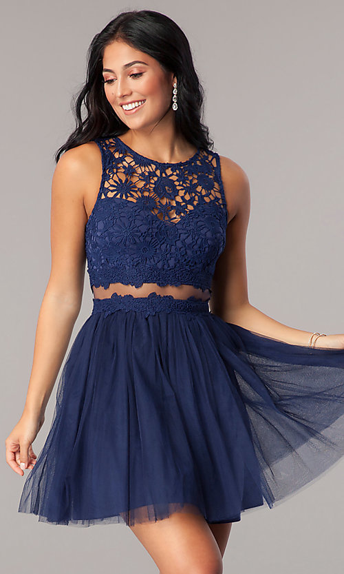 Image of mock-two-piece homecoming dress with lace bodice. Style: LP-23846 Detail Image 1