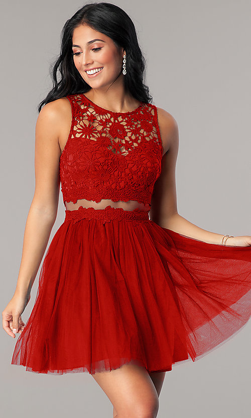Image of mock-two-piece homecoming dress with lace bodice. Style: LP-23846 Detail Image 2