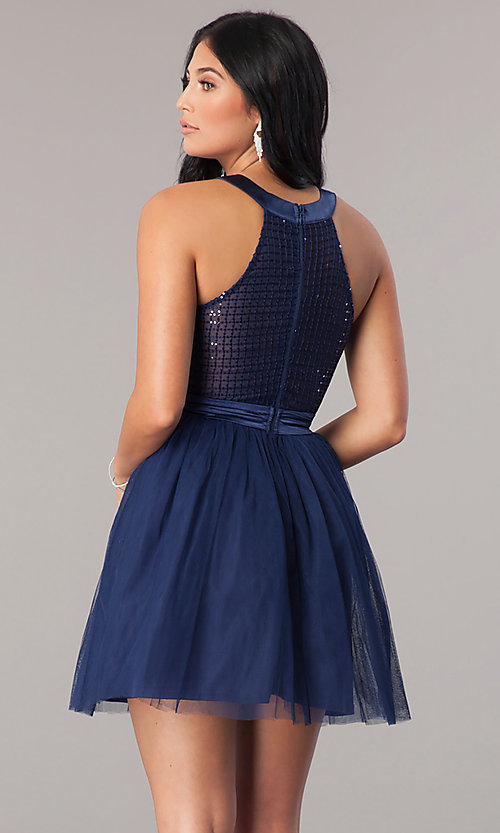 Image of short navy blue homecoming dress with sequin bodice. Style: LP-24077 Back Image