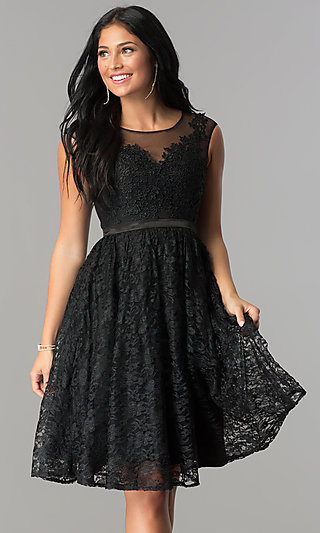Knee-Length Illusion-Neckline Lace Homecoming Dress